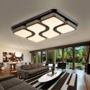 Modernism Geometric Indoor Lighting Fixture Metallic LED Flush Mount Lighting with Black Rectangle Canopy
