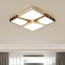 Nordic Style Beaded Ceiling Fixture with Trapezoid Metallic Surface Mount LED Light in Black and White