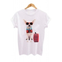 Funny Cool Sunglasses Dog with Baggage Print Short Sleeve Relaxed T-Shirt