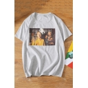 Street Fashion Letter Figure Print Basic Round Neck Relaxed T-Shirt