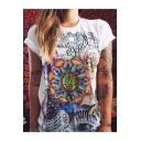 Cool Indian Floral Letter Totem Print Summer Casual White Short Sleeve T-Shirt