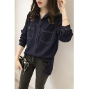 Women's Retro Contrast Stitching Double Pocket Long Sleeve Dipped Hem Button Shirt