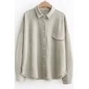 Simple Plain Lapel Collar One Pocket Casual Oxford Cotton Shirt