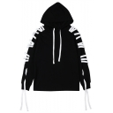 New Trendy Hip Hop Style Braid Ribbon Long Sleeve Simple Plain Unisex Casual Hoodie