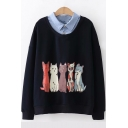 Patched Lapel Collar Lovely Cartoon Cat Printed Long Sleeve Pullover Sweatshirt
