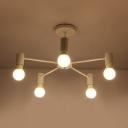 Matte White Armed Semi Flush Mount with Open Bulb Minimalist Metal 3/5/6 Lights Semi Flush Light Fixture