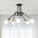 Gold Finish Bare Bulb Ceiling Fixture Modern Fashion Metallic 3/5/6 Lights Semi Flushmount for Exhibition Hall