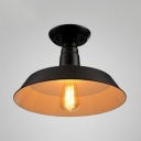 Matte Black Barn Ceiling Fixture with Metal Shade Industrial 1 Head Semi Flush Mount for Dining Room