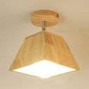 Single Head Trapezoid Indoor Lighting Simple Concise Semi Flush Light Fixture in Wood for Bedroom