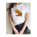 Cartoon Dinosaur Printed Short Sleeve Round Neck Cotton T-Shirt