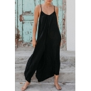 New Stylish Simple Plain Open Back Casual Loose Cami Black Jumpsuits