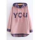 Simple Letter YOU Plaid Patchwork Long Sleeve Loose Relaxed Hoodie