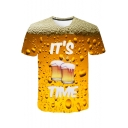 Cool 3D Beer Bubble Letter IT'S TIME Print Basic Yellow T-Shirt