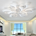 Round Canopy LED Ceiling Light Concise Acrylic Multi Lights Ultra Thin Semi Flushmount in White
