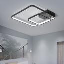 2 Square Metal Frame Ceiling Lamp Minimalist Modern Metal LED Semi Flush Light in Black