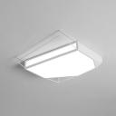Stylish Modern Polygon Flush Mount Decorative LED Flush Light with Acrylic Lampshade in White