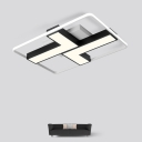 Acrylic L Shade Flush Light with Rectangle Frame Modern Fashion LED Flush Ceiling Light in Warm/White