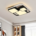 3 Square LED Flush Mount Modernism Acrylic Flush Light Fixture in Black for Hotel Hall