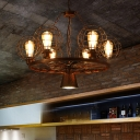 Rust Finish Metal Cage Chandelier Retro Style 6 Heads Suspended Light for Coffee Shop