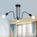 Modernism Gooseneck Suspension Light Iron Triple Lights Light Fixture for Hallway