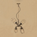 Wire Guard Hanging Light Industrial Metallic 4 Heads Chandelier Lamp in Antique Bronze/Antique Silver