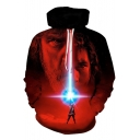 Popular 3D Figure Pattern Basic Long Sleeve Red Drawstring Hoodie