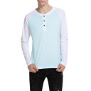 Stylish Colorblock Round Neck Long Sleeve Classic-Fit Henley Shirt
