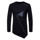 Unique Leather Patchwork Zip Embellished Slant Cut Bottom Long Sleeve Fitted Hipster T-Shirt