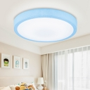 Round Ceiling Lamp with Crack Pattern Acrylic LED Flush Mount in Blue/Pink for Bedroom