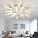 2 Tiers LED Ceiling Light with Dandelion Simplicity Acrylic Multi Light Semi Flush Light in White