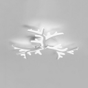 3/5 Lights Branch LED Semi Flush Light Contemporary Acrylic Lighting Fixture in White