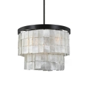 Shelly Shade Ring Chandelier Modern Fashion 6 Bulbs Suspended Light in Black for Restaurant
