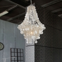 3 Heads Fountain Drop Light Modern Chic Shelly Suspended Light in Silver for Foyer