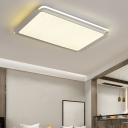 Acrylic Rectangle Shade Ceiling Flush Nordic Modern LED Lighting Fixture in Gray for Hotel Hall