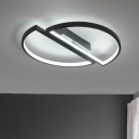 2 Semicircle LED Flushmount Modernism Metal Ceiling Light in Black for Sitting Room