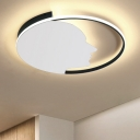 Single Ring Flush Mount Lighting with Side Face Decoration Contemporary Metal LED Ceiling Lamp