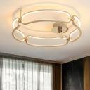 Gold Round LED Semi Flush Light Modern Fashion Silicon Gel Decorative Ceiling Lamp for Restaurant
