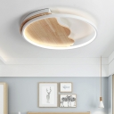 Wooden Canopy Flush Light Fixture with Halo Ring Modern Surface Mount LED Light in Third Gear