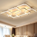 Nordic Modern Geometric Semi Flush Mount Aluminum Decorative LED Ceiling Lamp in Warm/White