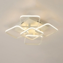 Ultra Thin LED Ceiling Fixture with 5 Square Frame Contemporary Metal Semi Flushmount in Warm/White