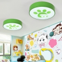 Acrylic Drum LED Flush Light Fixture with Lovely Dog Boys Girls Room Ceiling Lamp in Blue/Green