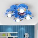 4 Lights Round Rudder Ceiling Lamp Boys Room Wooden Flush Light Fixture in White