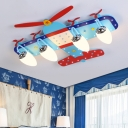 Prop Plane 4/6 Lights Flush Mount Modern Chrome Finish Glass Shade Ceiling Lamp for Kids