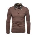 Contrast Camo Collar One Pocket Chest Three-Button Men's Long Sleeve Polo Shirt