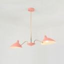 Pink Curved Arm Hanging Lamp Modern Fashion Metal 2 Lights Chandelier for Children Room