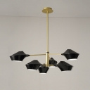 6 Heads Branch Suspension Light Modernism Chandelier Lamp in Gold with Geometric Metal Shade