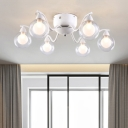 Glass Shade Modo Semi Flush Light Fixture Contemporary 6 Lights Decorative Ceiling Fixture in White
