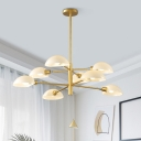 Modern Semicircle Suspended Light Milky Glass 8 Lights Hanging Ceiling Lamp in Gold for Restaurant