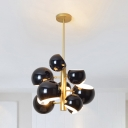 Multi Light Linear Chandelier with Black Globe Shade Nordic Style Iron Indoor Lighting Fixture