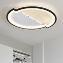 2 Semicircle Surface Mount Ceiling Light Modernism Acrylic LED Flush Light in Black and White